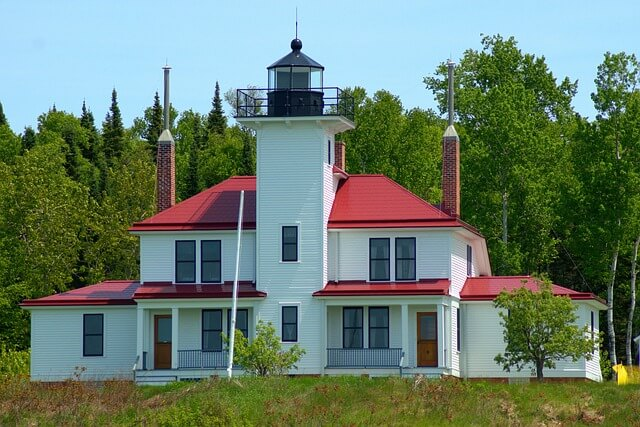 A lighthouse at Apostle Islands National Lake Seashore in Northern Wisconsin