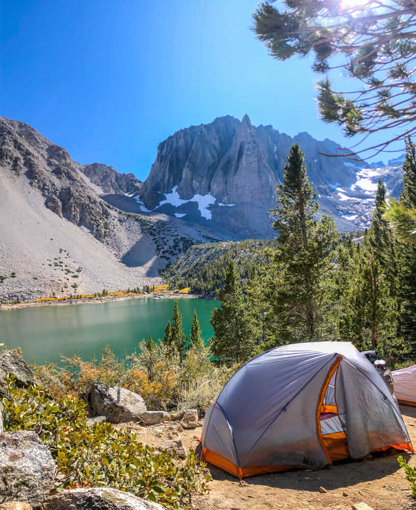 Camping at Big Pine Lakes in the USA
