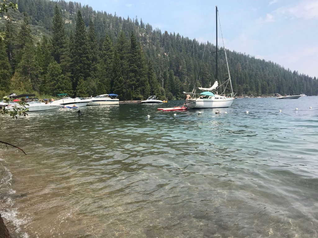 A boat on Lake Tahoe, one of the national parks to feature on everyone's USA outdoor bucket list