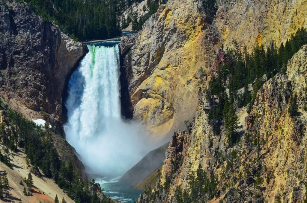 A waterfall at Yellowstone National Park, a place on everyone's USA outdoor bucket list