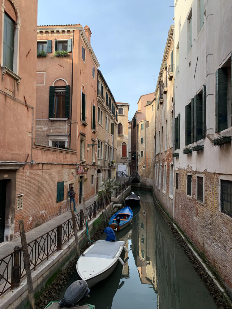 One of the few quiet canals in Venice