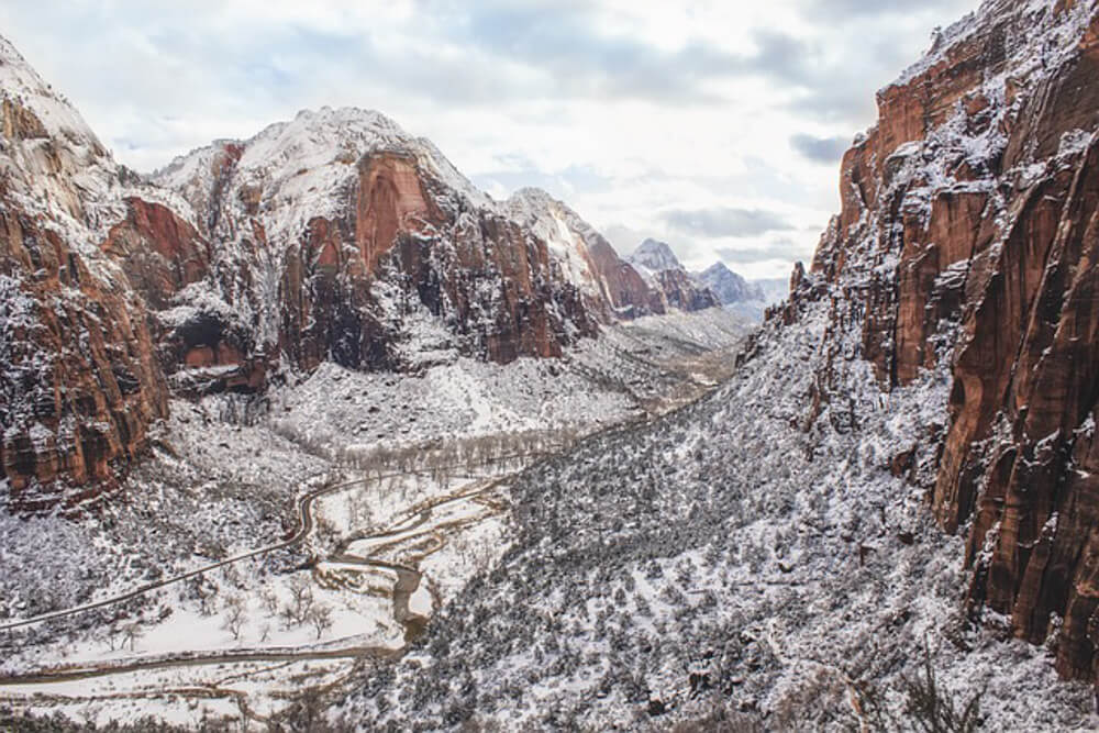 Zion National Park USA in winter
