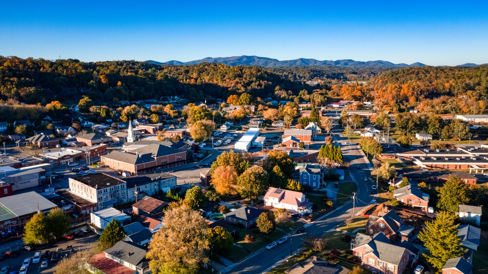 Birds eye view of Ellijay Georgia, one of the most charming US towns