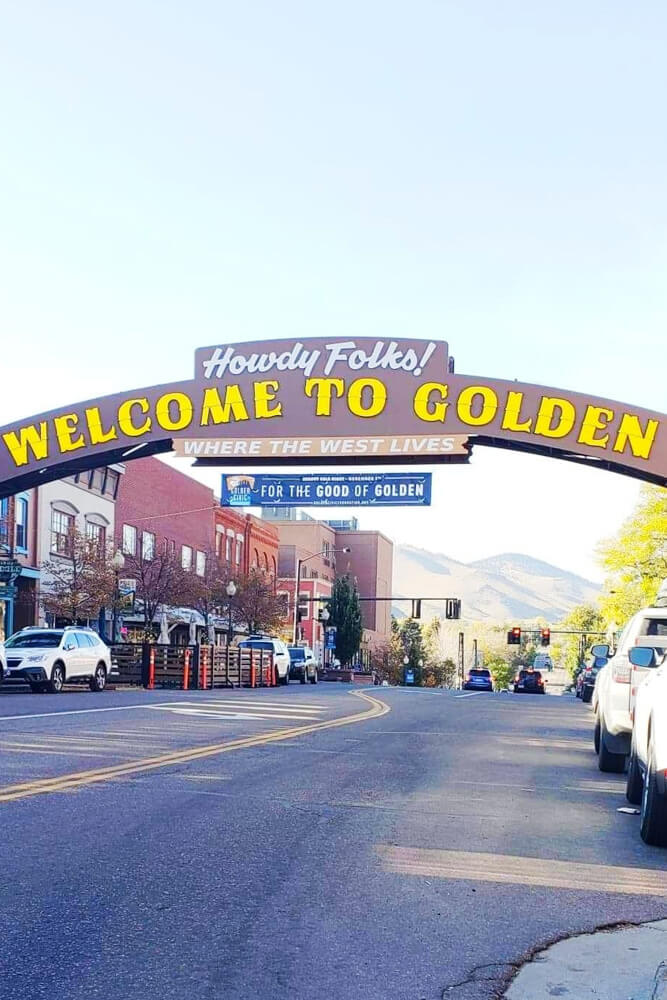 Welcome sign on main street of Golden in Colorado