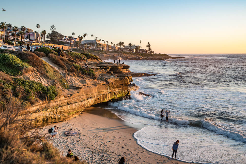 Stunning coastline in the upscale small town of La Jolla in Calafornia