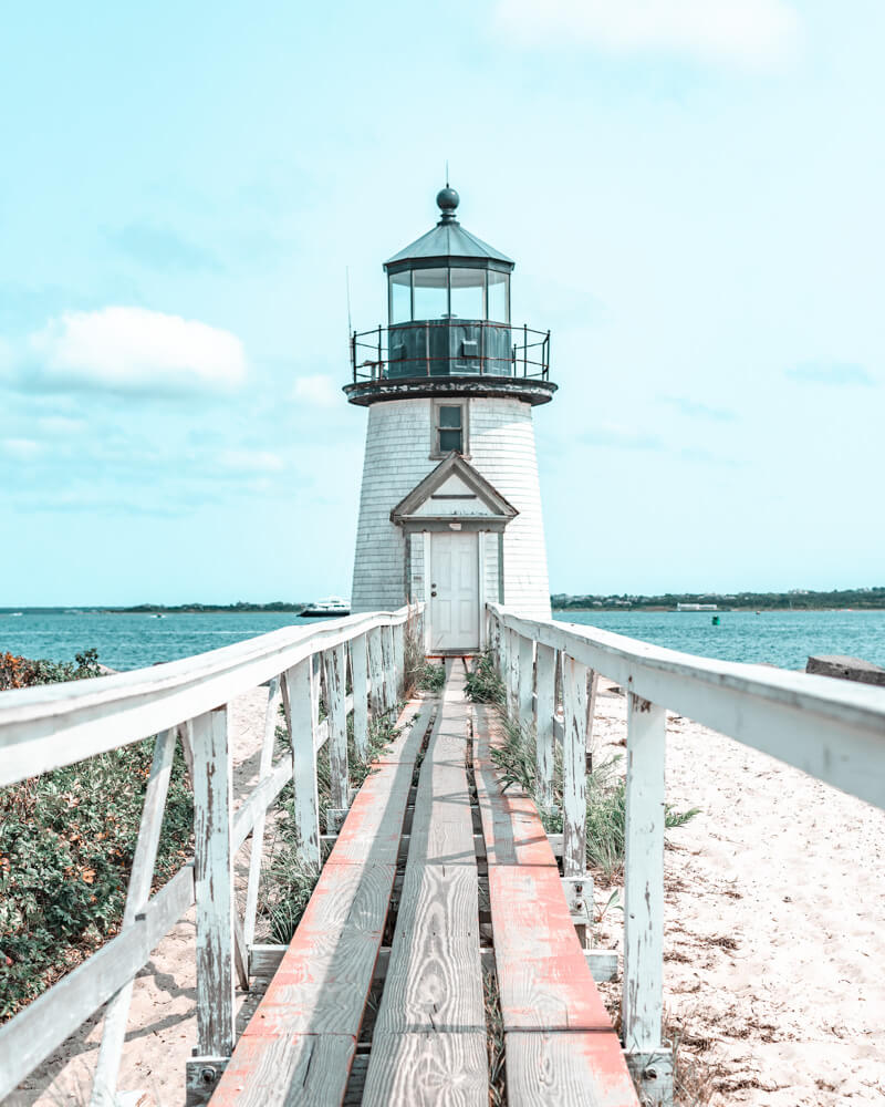 Lighthouse on the harbour in the charming town of Nantucket in Massachusetts