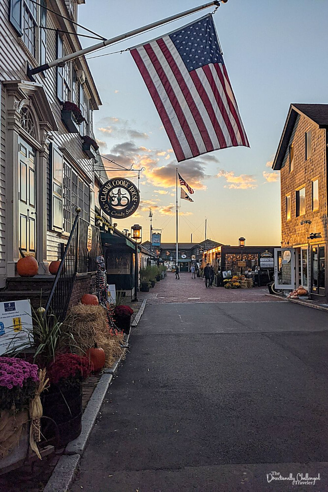 Main street at sunset in the quaint town of Newport Rhode Island