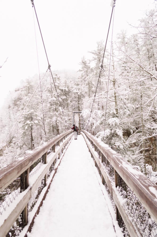 Snowy Tallulah Gorge, one of the USA's best winter hikes